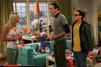 "The Big Bang Theory - Leonard (Johnny Galecki), Penny (Kaley Cuoco), and Sheldon (Jim Parsons) in ""The Big Bran Hypothesis."""
