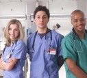 SCRUBS -  Sarah Chalke, Zach Braff, and Donald Faison