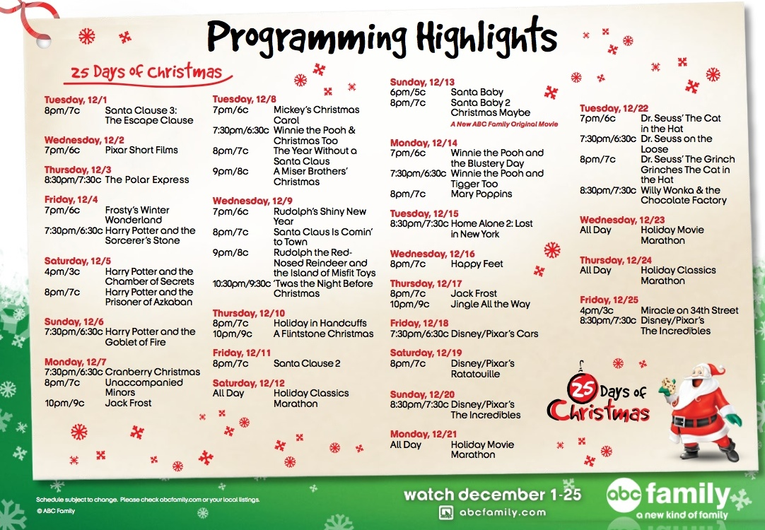 25 days of chrisfreeform channel christmas schedule - 25 Days Of Christmas Lineup