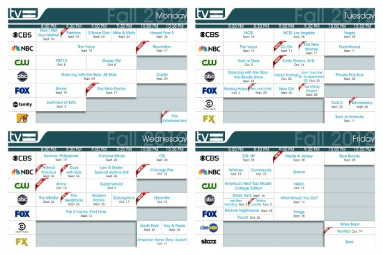 fall 2012 daily TV schedules