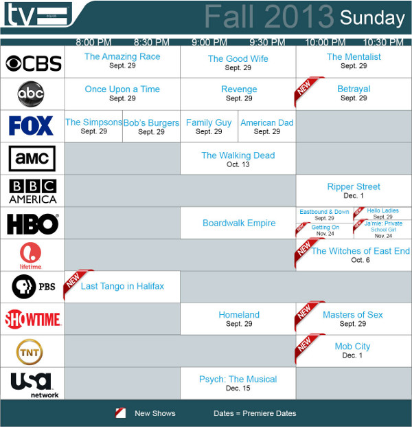 Not all shows will debut between September 23-29. Some will go the ...